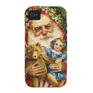 Vintage Santa with Teddy and Dolls iPhone 4 Covers