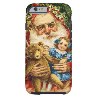 Vintage Santa with Teddy and Dolls Tough iPhone 6 Case