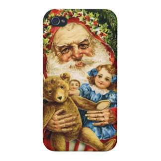 Vintage Santa with Teddy and Dolls Cover For iPhone 4