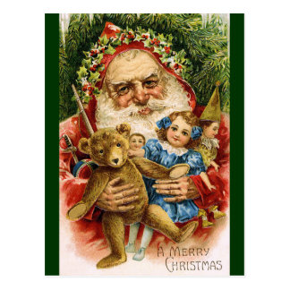 Vintage Santa with Teddy and Dolls Postcard