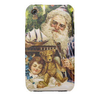 Vintage Santa with Teddy and Ship Case-Mate iPhone 3 Cases