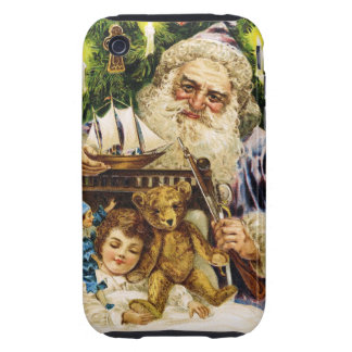 Vintage Santa with Teddy and Ship iPhone 3 Tough Case