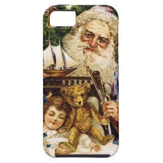 Vintage Santa with Teddy and Ship iPhone 5 Cases