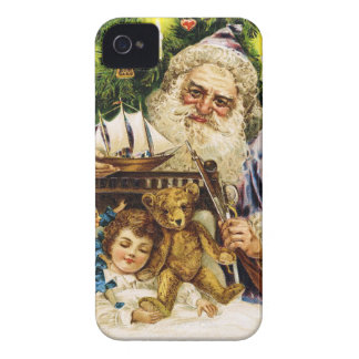 Vintage Santa with Teddy and Ship iPhone 4 Case-Mate Cases