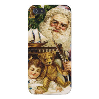 Vintage Santa with Teddy and Ship Cover For iPhone 5/5S