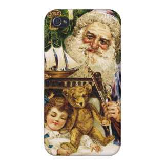 Vintage Santa with Teddy and Ship iPhone 4/4S Cases