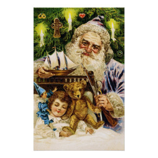 Vintage Santa with Teddy and Ship Poster