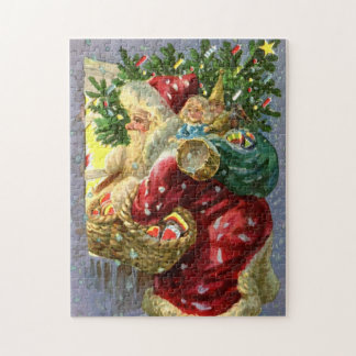 Vintage Santa with Toys and Sweets Jigsaw Puzzle