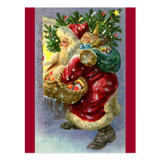 Vintage Santa with Toys and Sweets Postcards