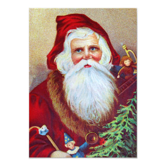 Vintage Santa with Toys and Tree Personalized Invitations