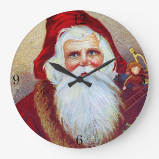 Vintage Santa with Toys and Tree Large Clock