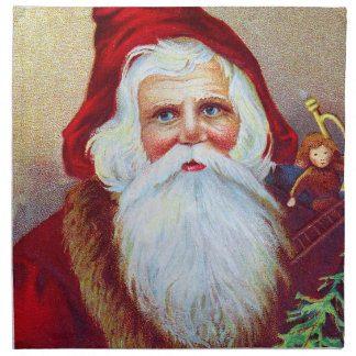Vintage Santa with Toys and Tree Napkin