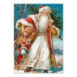 "Vintage Santa with toys Party 5"" X 7"" Invitation Card"
