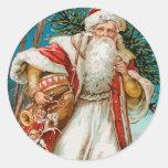 Vintage Santa with toys Round Sticker