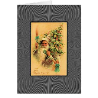 Vintage Santa With Tree Greeting Card