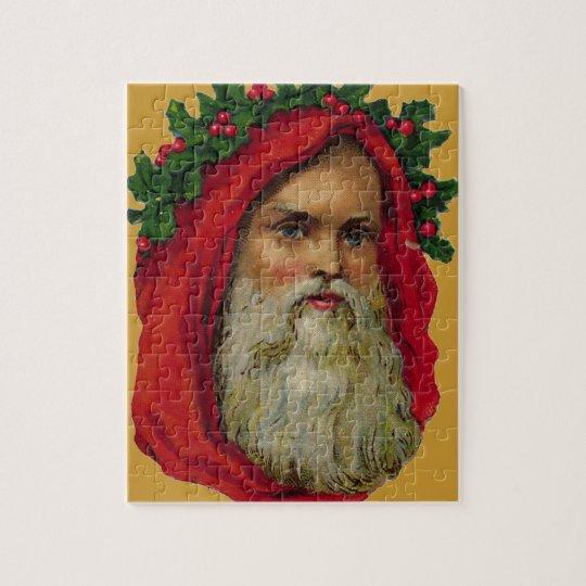 Vintage Santa With Wreath Jigsaw Puzzle