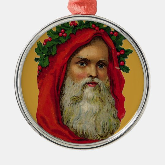 Vintage Santa With Wreath Metal Ornament