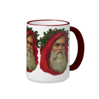 Vintage Santa With Wreath Ringer Coffee Mug