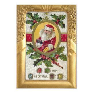 """Vintage Santa y acebo en marco adornado del oro Invitación 5"""" X 7"""""""