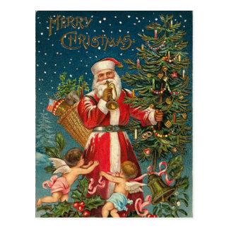 Vintage Santa y árbol de navidad Postales