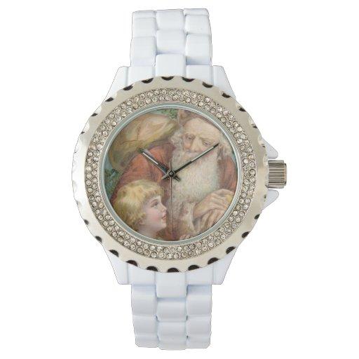 Vintage Santa y chica Relojes De Mano