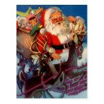 Vintage Santa y chimenea de los juguetes del trine Tarjeta Postal