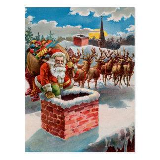 Vintage Santa y chimenea Postal