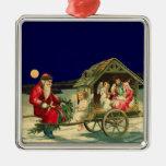 Vintage Santa y escena de la natividad Adorno Para Reyes