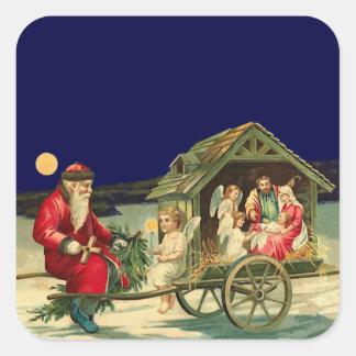 Vintage Santa y escena de la natividad Pegatina Cuadrada