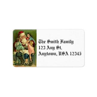 Vintage Santa y etiquetas de dirección de los niño