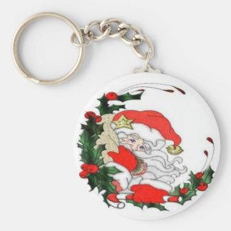 Vintage Santa y guirnalda Llavero Personalizado