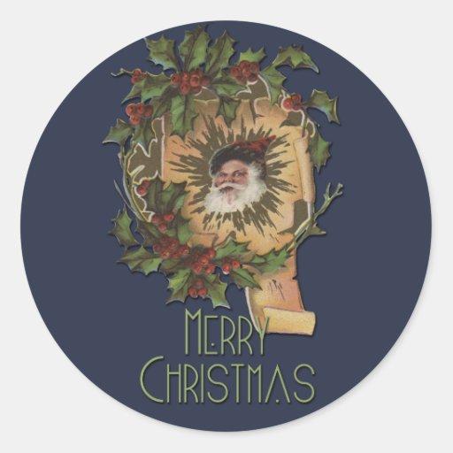 Vintage Santa y navidad del acebo Etiqueta Redonda