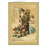 Vintage Santa y navidad del alemán de la niña Tarjeton
