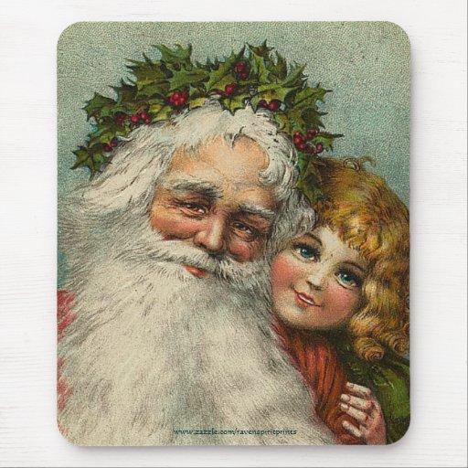 Vintage Santa y navidad Mousepad del padre del niñ