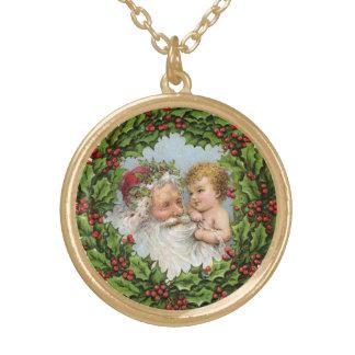 Vintage Santa y niño Colgante Redondo