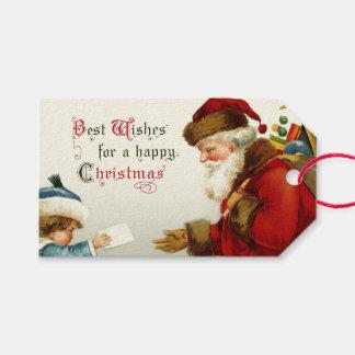 Vintage Santa y niño con la letra del navidad Etiquetas Para Regalos