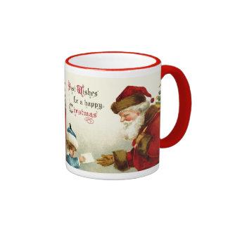 Vintage Santa y niño con la letra del navidad Taza De Dos Colores
