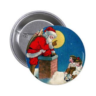 Vintage Santa y niños Pin Redondo 5 Cm