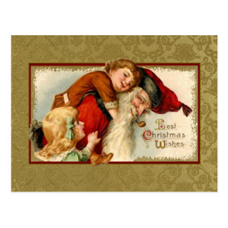 Vintage Santa y niños Postal
