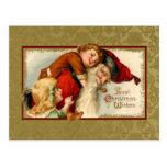 Vintage Santa y niños Postales