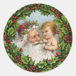 Vintage Santa y pegatina del navidad del bebé