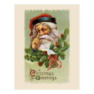 Vintage Santa y postal de los árboles de hoja pere