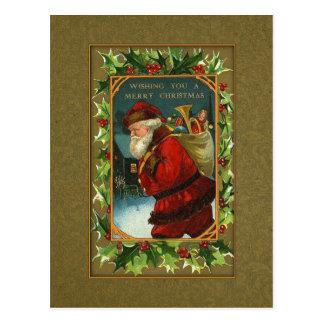 Vintage Santa y postal del navidad del acebo