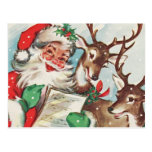 Vintage Santa y reno Tarjeta Postal