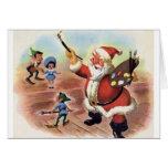 Vintage Santa y tarjeta de felicitación del navida