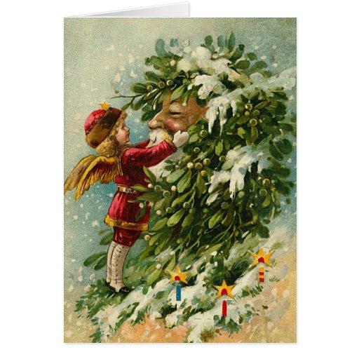 Vintage Santa y tarjeta de Navidad de la hada
