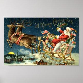 Vintage Santa y trineo Poster