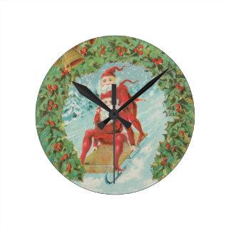 Vintage Santas Sledding Wall Clock