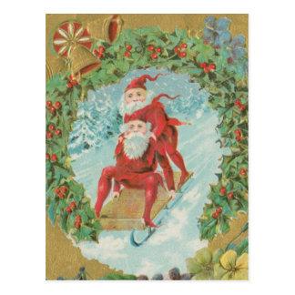 Vintage Santas Sledding Postcard