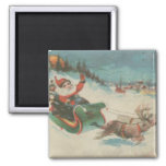 Vintage Santa's Sleigh and Reindeer 2 Inch Square Magnet